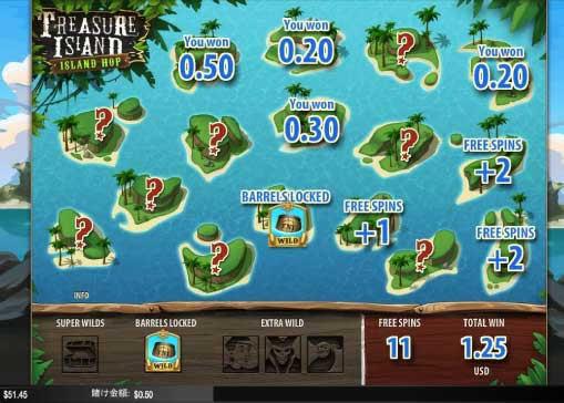 島を選択してフリースピン内容を獲得