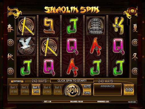 Shaolin Spinのゲーム画面