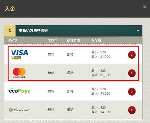 チェリーカジノ クレジットカード入金画面