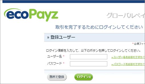 エコペイズのログイン画面