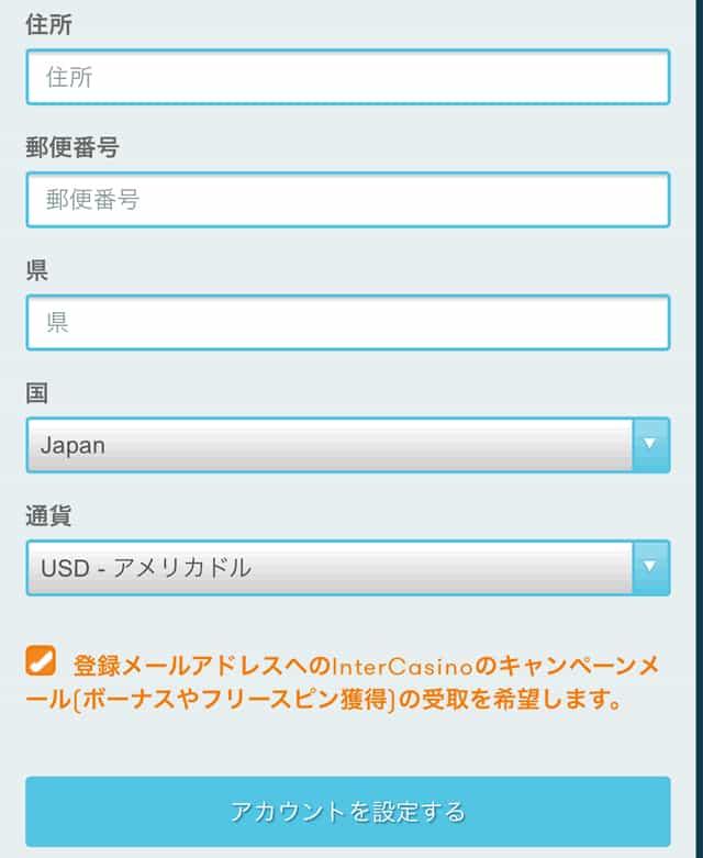 インターカジノ登録画面3