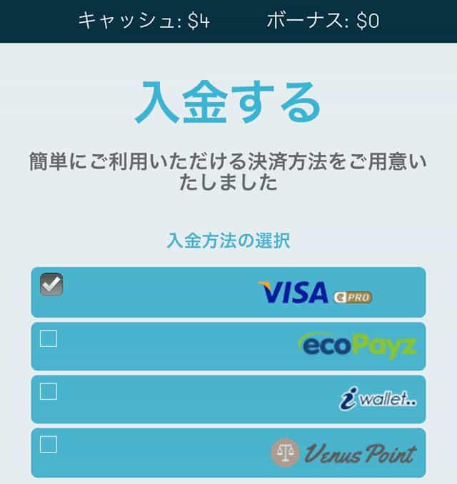 クレジットカードの入金画面