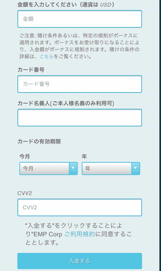 i-paymentsの情報入力画面