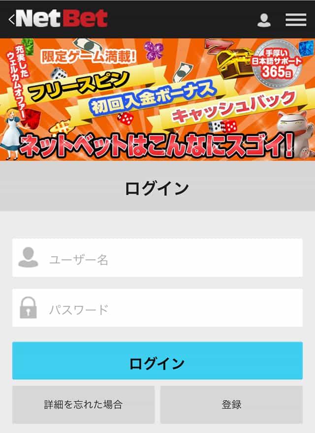 ネットベットカジノ公式画面