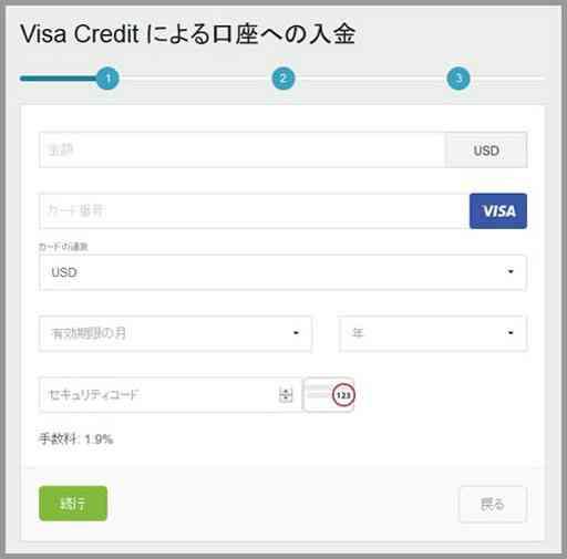 Visa Credit による口座への入金-1