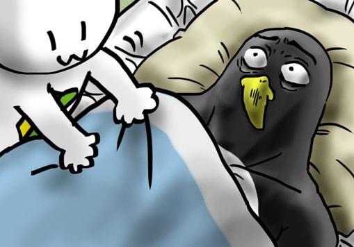 安静中のペンギン