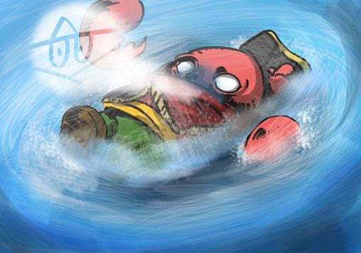 溺れるカニ