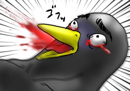 血反吐を吐くペンギン