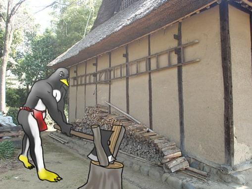 薪を割るペンギン