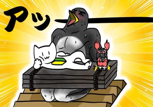 石抱きの刑に処されるペンギン