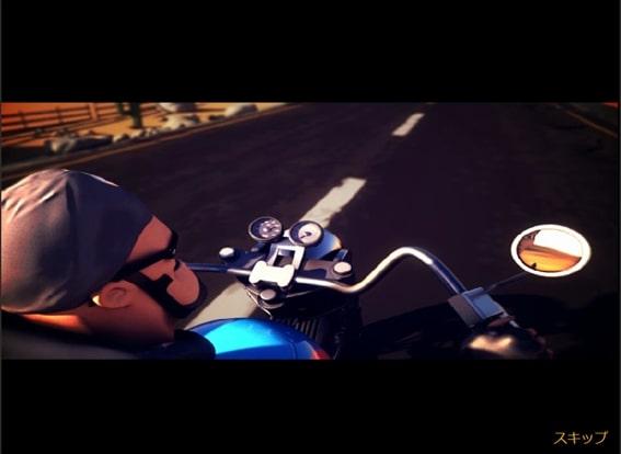 バイクで走るおっさん