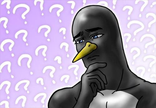 困惑するペンギン