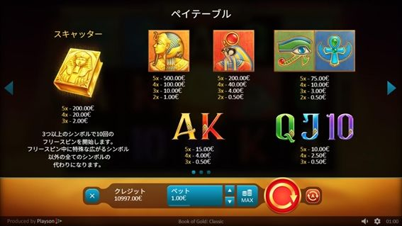 Book of GOLD CLASSIC解説画面