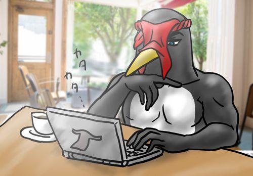 ペンギンさんが喫茶店でノートPCをカタカタしてる