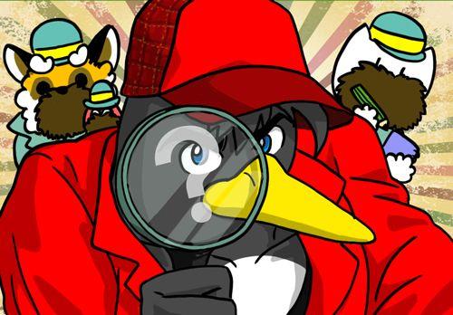 名探偵ホームズっぽい服装のペンギンさん