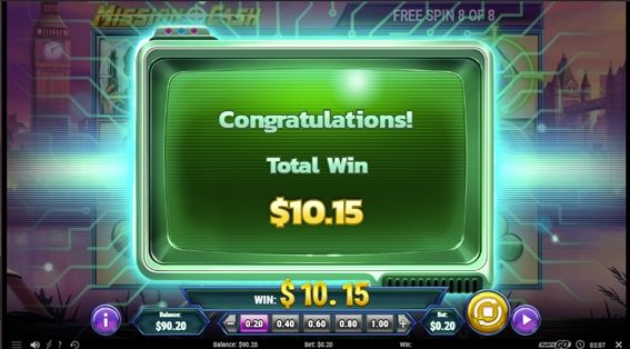 ボーナスの結果$10.15