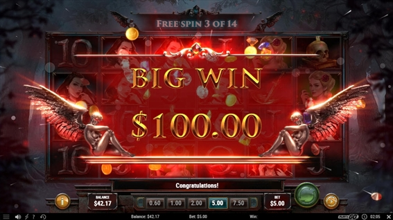 $100のビッグウィン獲得