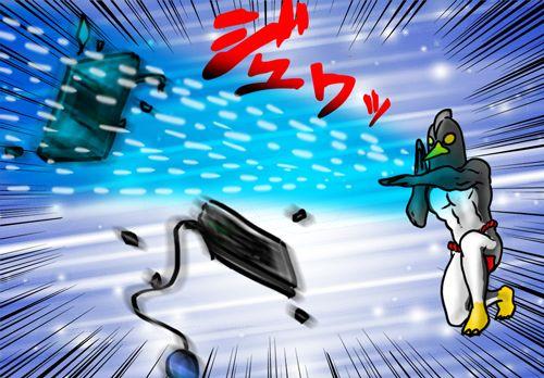 スペシウム光線でモニターをぶっ壊すペンギンさん