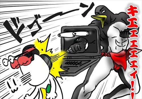 モニターをぶっ壊すペンギンさん