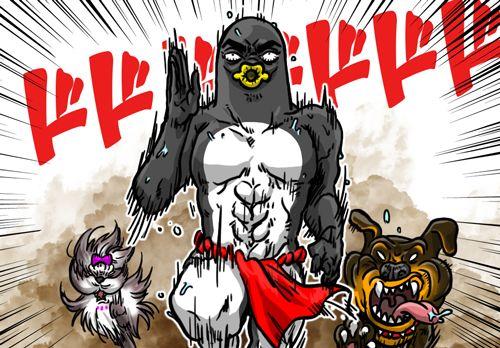 犬に追いかけられているペンギンさん