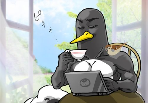 朝からスロット打つペンギンさん