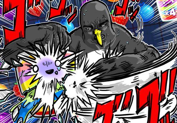 怒りながらジャム瓶を粉砕しているペンギンさん