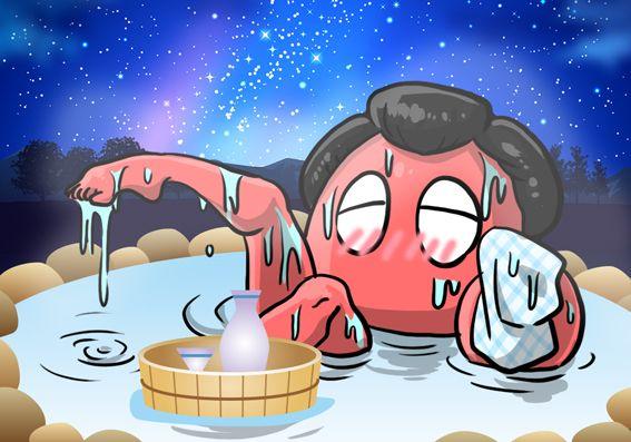 温泉を楽しむカニスピさん