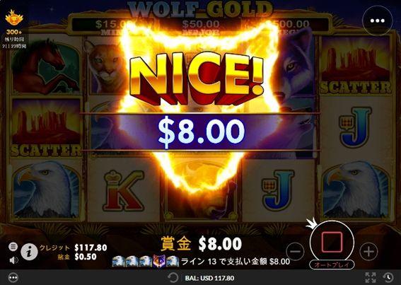 ハクトウワシの5カードで$8.00獲得