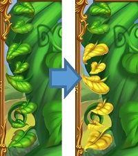 右の枝の葉8枚が全て黄色に変わればフリースピン突入