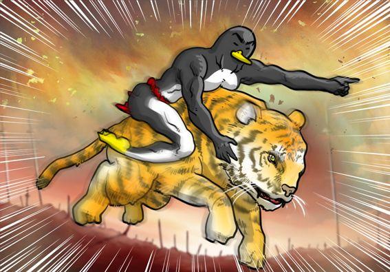 トラに乗って脱出するペンギンさん