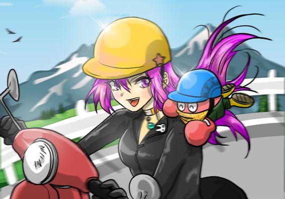スクーターに乗ってるニッキーちゃん