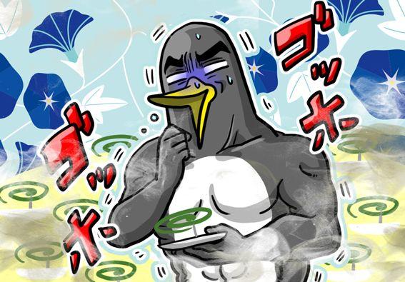 蚊取り線香にいぶされるペンギンさん