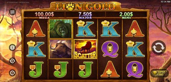 LION GOLDプレイ画面MEGA$100.00