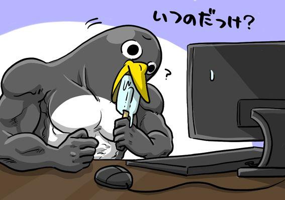 頭をかしげているペンギンさん