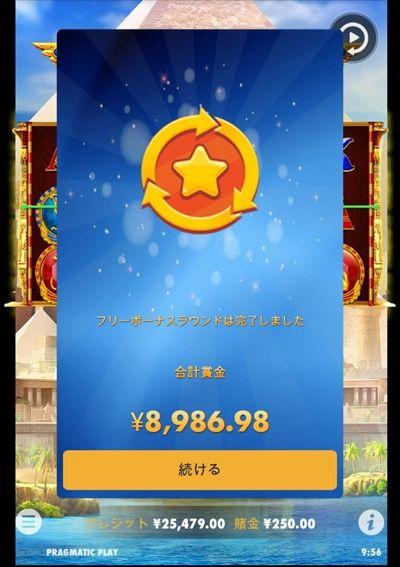 賞金合計8986.98円