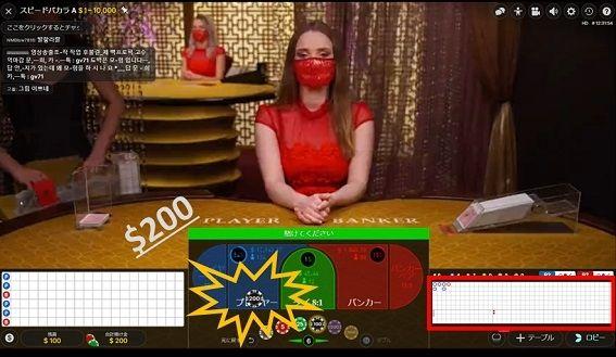 青のプレイヤーに$200ベット