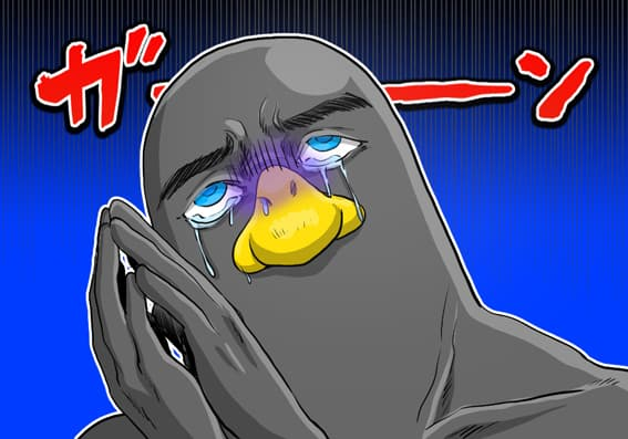 ショックを受けているペンギン