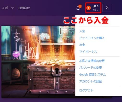 ビットカジノ入金画面1