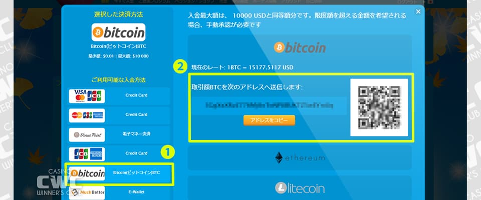 ビットコインを選択すると取引用のアドレス・QRコードが表示される