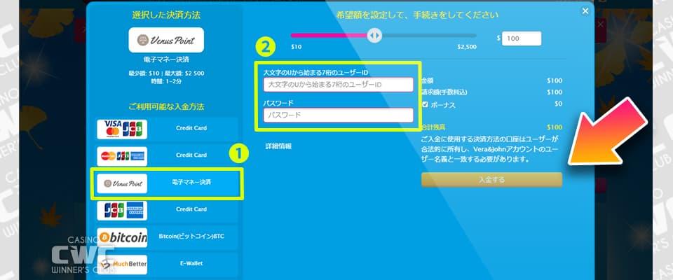 ビーナスポイントの入金は、ユーザーIDとパスワードを入力して行う