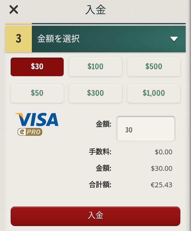 チェリーカジノ クレジットカードの入金画面3