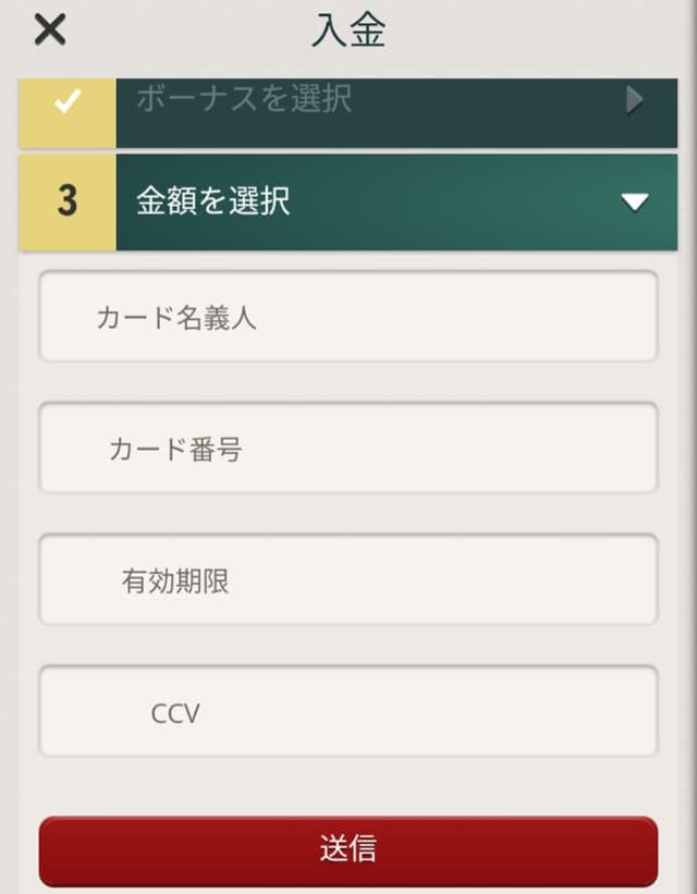 チェリーカジノ クレジットカードの入金画面4