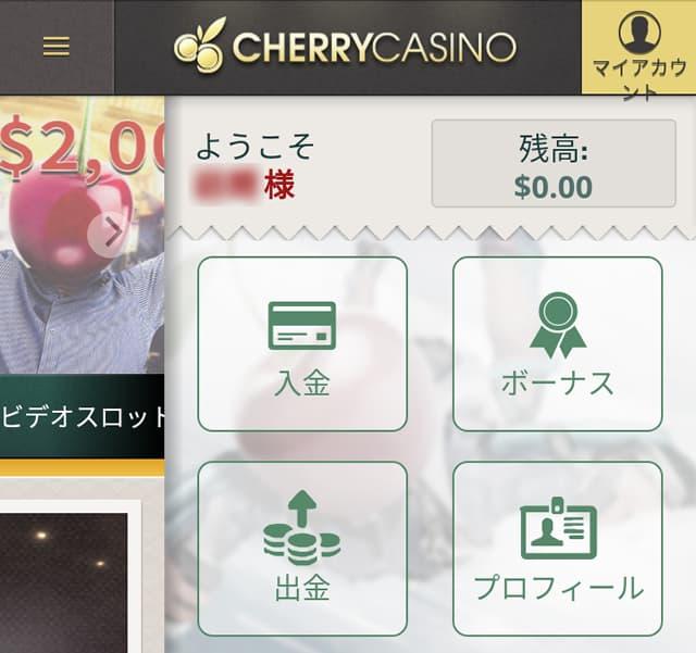 チェリーカジノの出金画面1