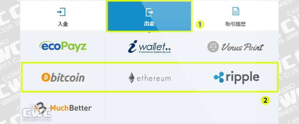 出金方法から仮想通貨を選択する