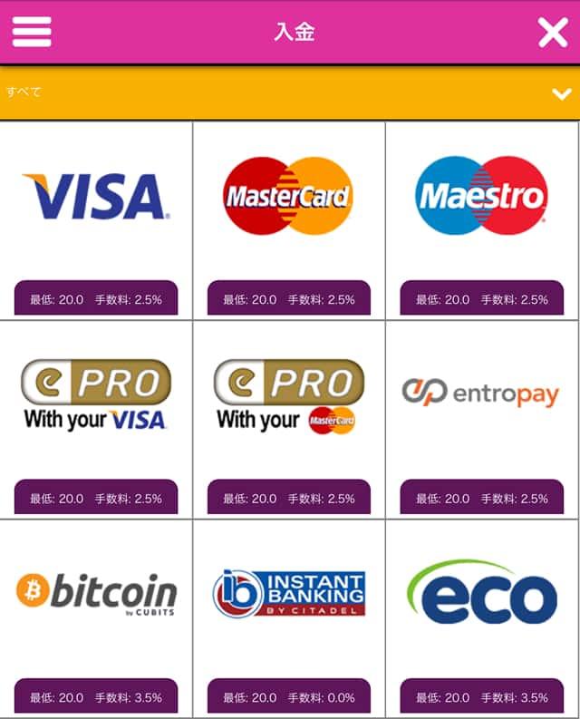 クレジットカードの入金画面1