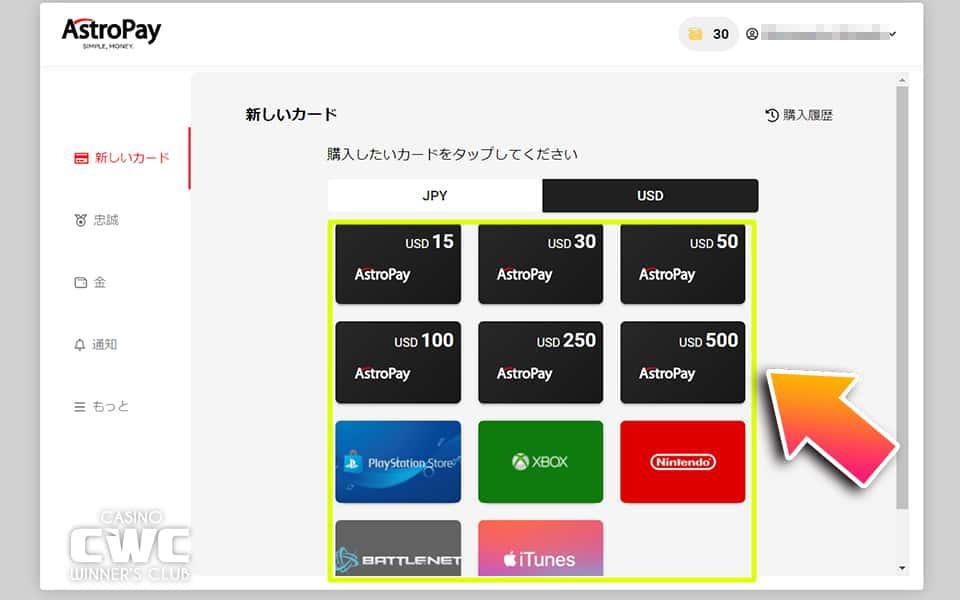 JPY(日本円)・USD(アメリカドル)のいずれかから購入したいカードを選択する