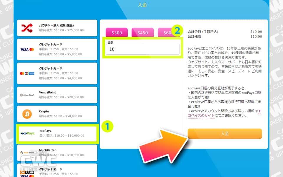 カジノのキャッシャー画面を表示し、入金方法で『ecoPayz』を選択