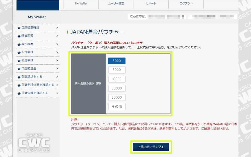 バウチャーの購入金額をボタンから選択するか、「その他」から入金額を直接入力し、上記内容で申し込むをクリック