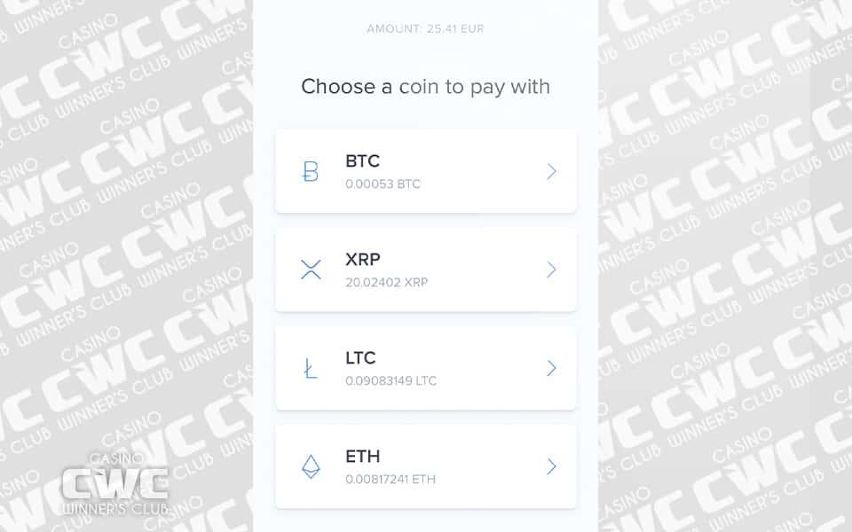 入金に使う仮想通貨を選択する