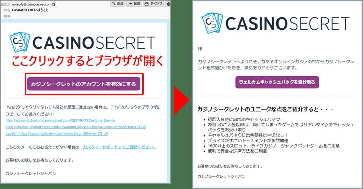 カジノシークレットのメール認証作業
